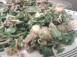 50/50 Roasted Brussel Sprouts & Chopped Spinach Salad
